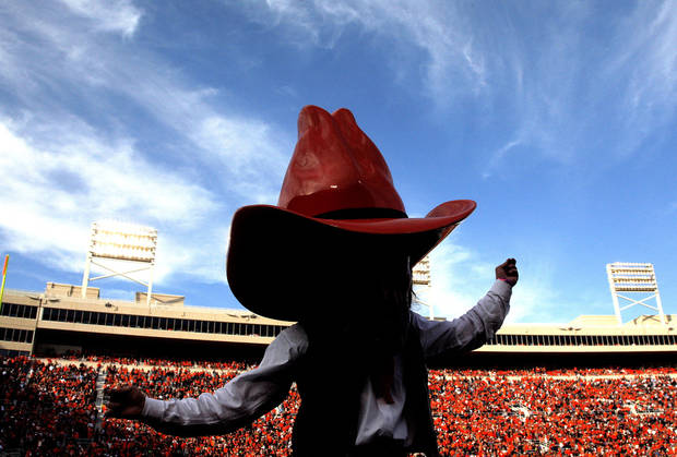 Pistol Pete dances during a college football game between Oklahoma State University (OSU) and Texas Christian University (TCU) at Boone Pickens Stadium in Stillwater, Okla., Saturday, Oct. 27, 2012. Photo by Sarah Phipps, The Oklahoman