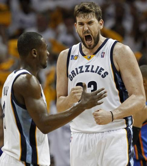 Memphis Grizzlies center Marc Gasol, of Spain, right, yells as he celebrates with Tony Allen, left, after Gasol scored against the Oklahoma City Thunder in the overtime period of Game 3 of a second-round NBA basketball series on Saturday, May 7, 2011, in Memphis, Tenn. The Grizzlies won 101-93 in overtime to take a 2-1 lead in the series. Gasol had 16 points and Allen scored 10. (AP Photo/Mark Humphrey) ORG XMIT: TNMH111