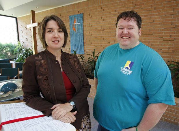 The Rev. Amy Venable, senior pastor of St. Stephen�s United Methodist Church, and church member Jason Martin stand in the Norman church�s sanctuary at 1801 W Brooks. Photo by Steve Sisney, The Oklahoman