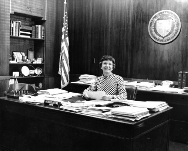 Oklahoma City Mayor Patience Latting in her office on the second floor of the Municipal Building in downtown Oklahoma City. Staff photo by J. Pat Carter taken 6/8/73.