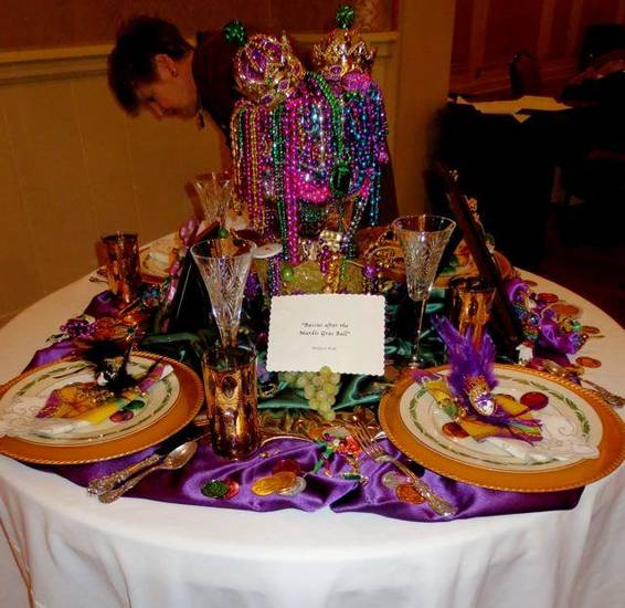 """Baccus after the Mardi Gras Ball"" by Margaret Keith table. (Photo by Helen Ford Wallace)."