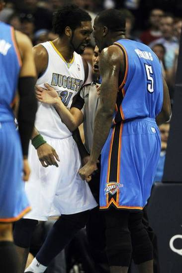 during the first half on Tuesday April 5, 2011 at the Pepsi Center. AAron Ontiveroz, The Denver Post