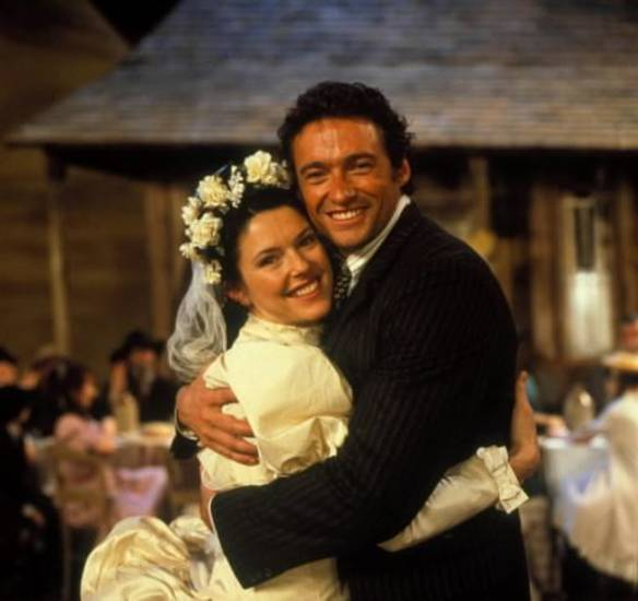 "Josefina Gabrielle and Hugh Jackman in the 1998 Royal National Theatre production of "" Oklahoma!"""