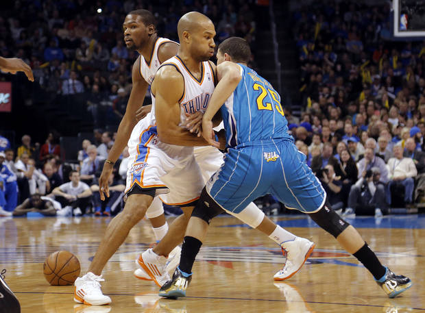 Oklahoma City Thunder's Derek Fisher (6) puts a pick on New Orleans Hornets' Austin Rivers (25) during the NBA basketball game between the Oklahoma City Thunder and the New Orleans Hornets at the Chesapeake Energy Arena on Wednesday, Feb. 27, 2013, in Oklahoma City, Okla. Photo by Chris Landsberger, The Oklahoman