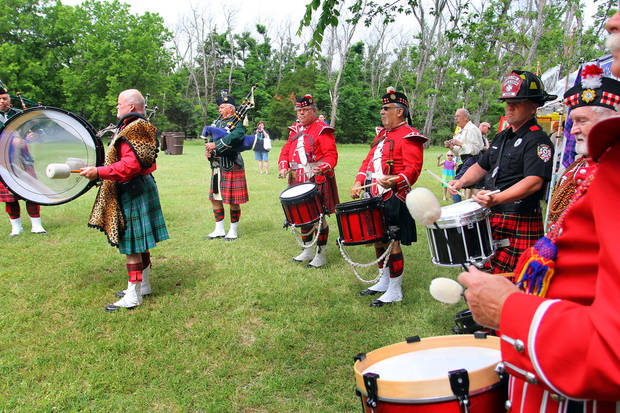 Pipes and drums bands perform during the Iron Thistle Festival in Yukon, Saturday, April 28th, 2012. PHOTO BY HUGH SCOTT, FOR THE OKLAHOMAN  ORG XMIT: KOD