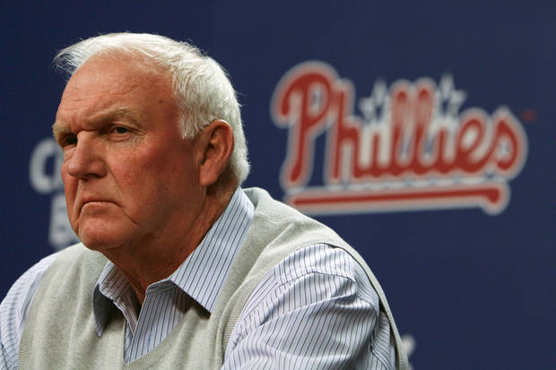 Philadelphia Phillies manger Charlie Manuel pauses during a baseball news conference on Thursday Oct. 4, 2012, in Philadelphia. (AP Photo/ Joseph Kaczmarek)