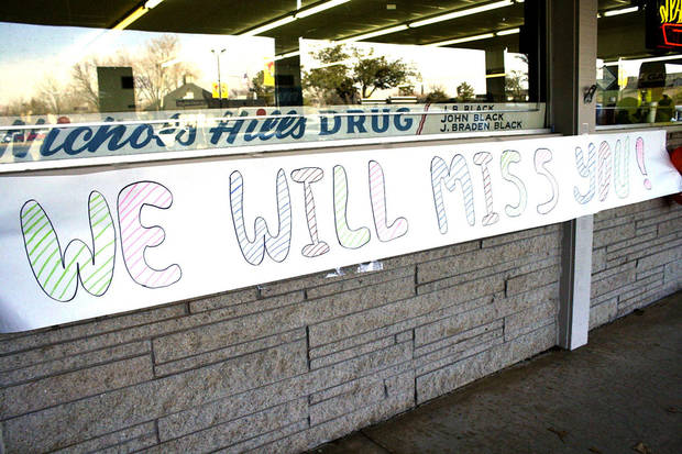 A sign hangs Jan. 20, 2012, at the original Nichols Hills Drugstore and lunch counter.  The Oklahoma Archives Photo