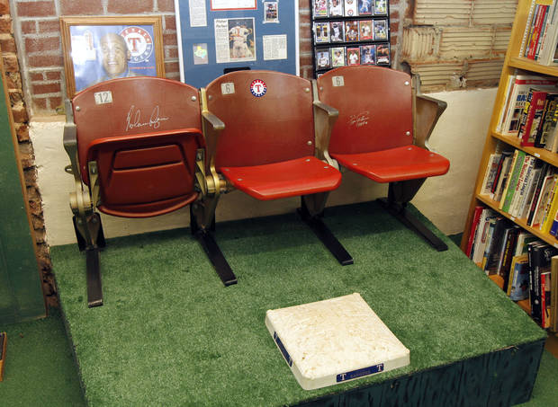 BASEBALL COLLECTION: These autographed seats are on display at the Oklahoma Sports Hall of Fame in Guthrie, OK, Thursday, April 11, 2013,  By Paul Hellstern, The Oklahoman