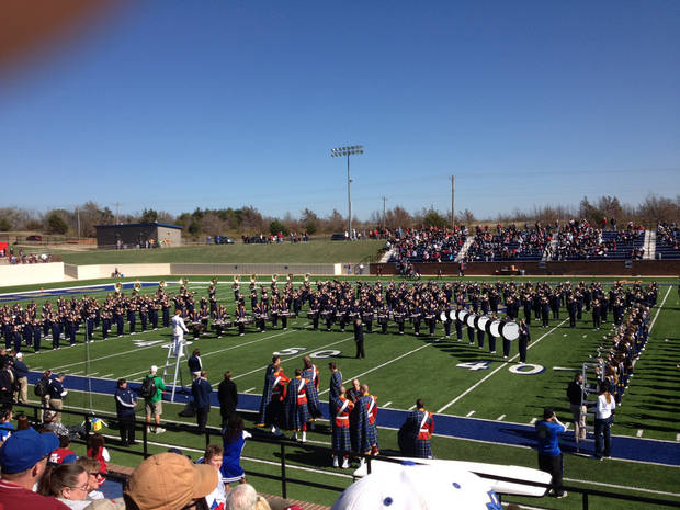 Notre Dame's marching band performs at Noble High School on Saturday, Oct. 27.