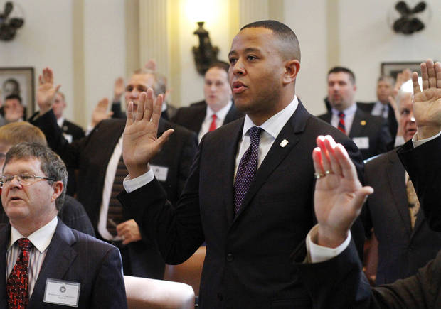 Rep. T.W. Shannon is sworn in as House speaker-elect on Nov. 14 at the state Capitol. Shannon, 34, will be the first black House speaker and also the youngest to serve in the leadership post. Photo by Jim Beckel, The Oklahoman Archives