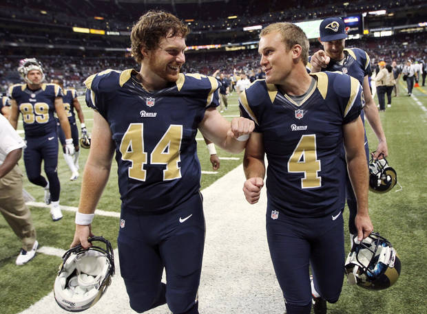 St. Louis Rams long snapper Jake McQuaide (44) congratulates kicker Greg Zuerlein after their 19-13 win over the Seattle Seahawks in an NFL football game, Sunday, Sept. 30, 2012, in St. Louis. (AP Photo/St. Louis Post-Dispatch, Chris Lee) EDWARDSVILLE INTELLIGENCER OUT; THE ALTON TELEGRAPH OUT