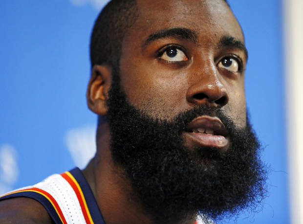 James Harden answers questions at a press conference during media day for the Oklahoma City Thunder NBA basketball team at the Thunder Events Center in Oklahoma City, Monday, Oct. 1, 2012.  Photo by Nate Billings, The Oklahoman