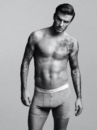 David Beckham models a pair of briefs from his underwear line at H&M.