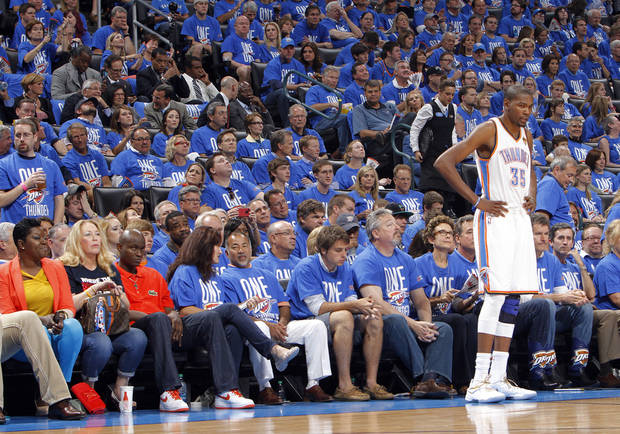 Oklahoma City 's Kevin Durant (35) stands in front of the crowd during Game 1 of the NBA Finals between the Oklahoma City Thunder and the Miami Heat at Chesapeake Energy Arena in Oklahoma City, Tuesday, June 12, 2012. Photo by Chris Landsberger, The Oklahoman