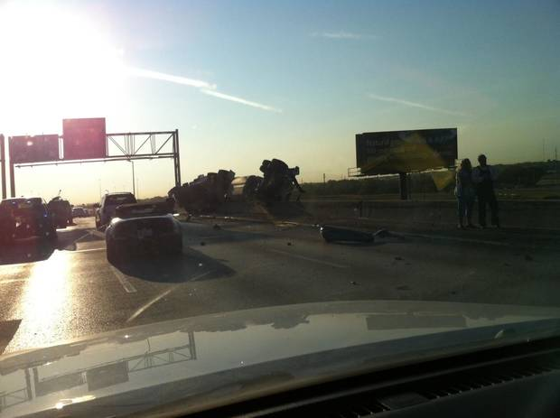 Picture of i40 semi wreck this morning
