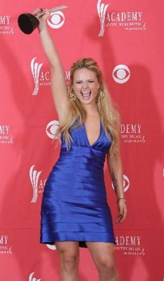 Tishomingo resident Miranda Lambert celebrates her win at the 2008 Academy of Country Music Awards. (Associated Press photo)