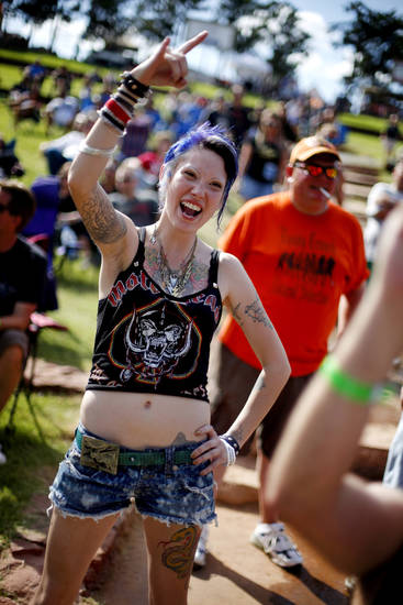 Shelsea Rowe of Oklahoma City cheers for the band A Fate Far Worse during the Rock-N-America Music Festival at the Zoo Amphitheater in Oklahoma City, Friday, July 23, 2010.  Photo by Bryan Terry, The Oklahoman
