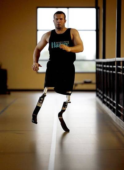 Ugur Yumuk of Turkey runs on prosthetic legs at the University of Central Oklahoma Wellness Center on Tuesday, May 24, 2011, in Edmond, Okla.  Yumuk will be running at the Endeavor games for the first time. Photo by Bryan Terry, The Oklahoman