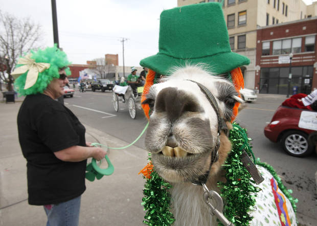 "Patty Cohenour and her llama ""Starburst"" participate in the annual St. Patrick's Parade in downtown Oklahoma City, OK, Saturday, March 19, 2011. By Paul Hellstern, The Oklahoman"