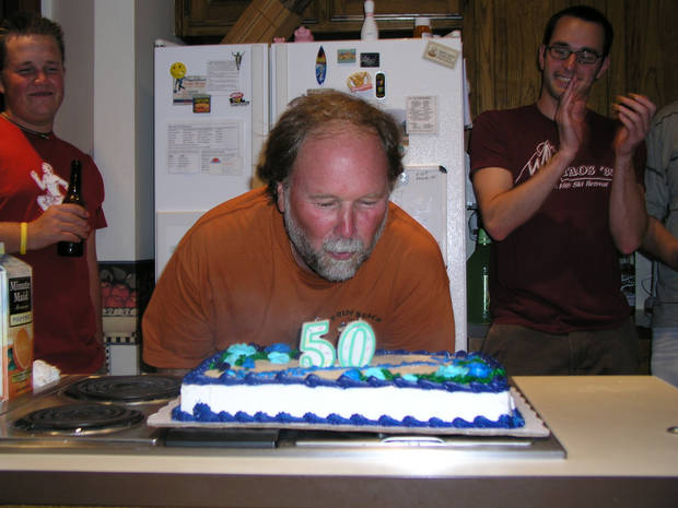 Jim Beckel blows out the candles on his 50th birthday cake July 15.<br/><b>Community Photo By:</b> Jaconna Aguirre<br/><b>Submitted By:</b> Doug, Edmond