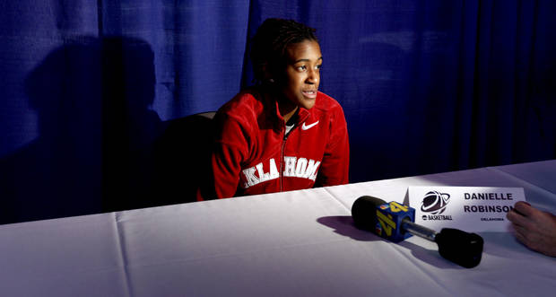 OU's Danielle Robinson talks during a news conference the day before the NCAA women's basketball tournament game between Oklahoma and Purdue at the Ford Center in Oklahoma City, Monday, March 30, 2009.  PHOTO BY BRYAN TERRY, THE OKLAHOMAN