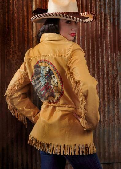 Double D Ranchwear deerskin jacket, Patricia Wolfe hat and Habitual jeans from Filigree. Model is Adrianna. Photo by Chris Landsberger, The Oklahoman
