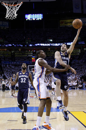 during game five of the Western Conference semifinals between the Memphis Grizzlies and the Oklahoma City Thunder in the NBA basketball playoffs at Oklahoma City Arena in Oklahoma City, Wednesday, May 11, 2011. Photo by Sarah Phipps, The Oklahoman