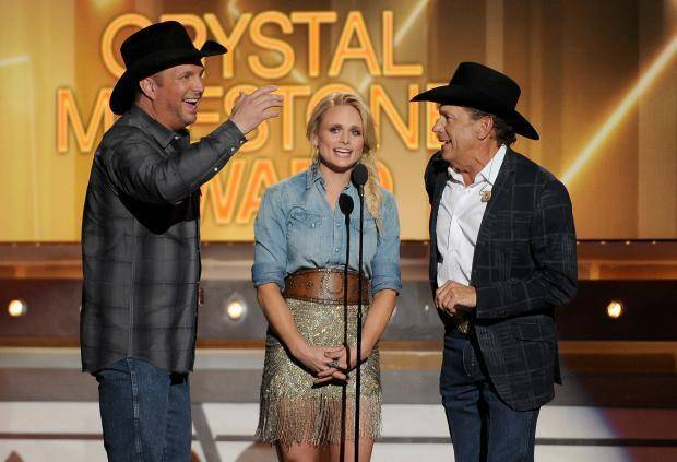 Garth Brooks, Miranda Lambert and George Strait pay tribute to Merle Haggard at the 49th annual Academy of Country Music Awards at the MGM Grand Garden Arena on Sunday, April 6, 2014, in Las Vegas. (AP)