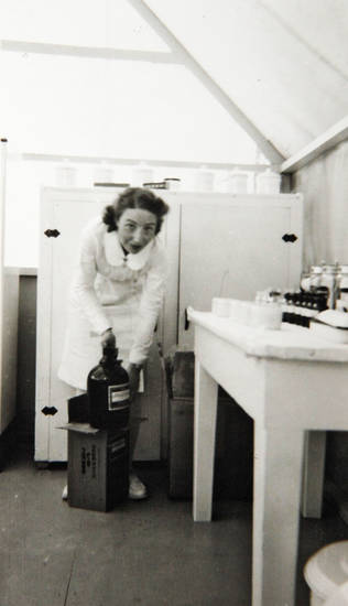 Photo of Beatrice Warren in the clinic when she was a nurse at a migrant camp in California during the Dust Bowl era.  Photo Provided <strong>David McDaniel - The Oklahoman</strong>