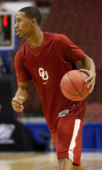 Oklahoma's Je'lon Hornbeak (5) handles the ball during the practice and press conference day for the second round of the NCAA men's college basketball tournament at the Wells Fargo Center in Philadelphia, Thursday, March 21, 2013. OU will play San Diego State in the second round on Friday. Photo by Nate Billings, The Oklahoman
