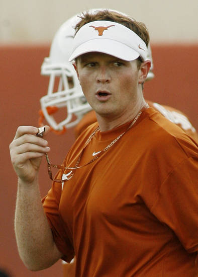 COLLEGE FOOTBALL: University of Texas running backs coach Major Applewhite is shown during a team workout Thursday, Aug. 7, 2008, in Austin. Texas. Although not the quarterbacks coach, Applewhite is often questioned about tutoring Longhorns quarterback Colt McCoy. Texas is set to host Rice Saturday.  (AP Photo/Harry Cabluck) ORG XMIT: AT103