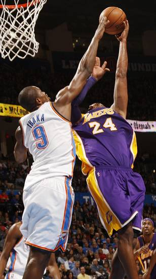 during an NBA basketball game between the Oklahoma City Thunder and the Los Angeles Lakers at Chesapeake Energy Arena in Oklahoma City, Friday, Dec. 7, 2012. Oklahoma City won, 114-108. Photo by Nate Billings, The Oklahoman