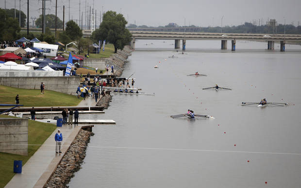 Rowing teams row down the Oklahoma River during the Head of the Oklahoma Regatta Festival in Oklahoma City, Okla., Sunday, Sept. 30, 2012.  Photo by Garett Fisbeck, The Oklahoman