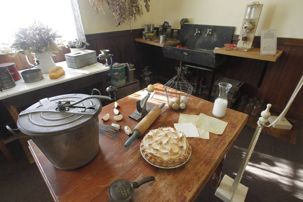 This Monday, Nov. 19, 2012 photo shows the kitchen at the Robert Todd Lincoln mansion Hildene in Manchester, Vt. The Georgian Revival home was built in 1905 by Robert Todd Lincoln, the only one of the president's four children to survive to adulthood.(AP Photo/Toby Talbot)