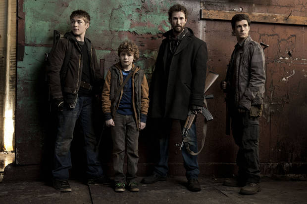 "From left, Connor Jessup, Maxim Knight, Noah Wyle and Drew Roy of ""Falling Skies"" - TNT Photo"