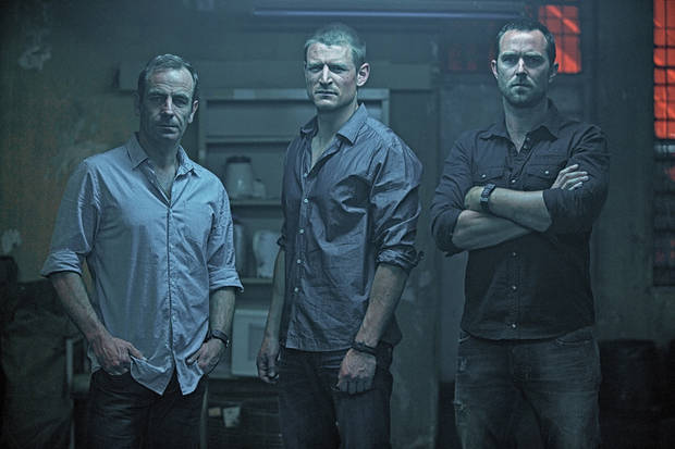 From left, Robson Green, Philip Winchester and Sullivan Stapleton- Photo credit: David Bloomer/Cinemax.