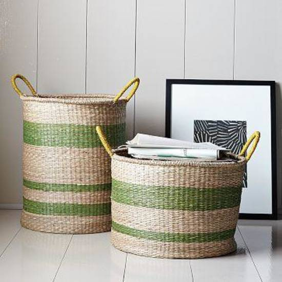 Striped seagrass baskets from West Elm.