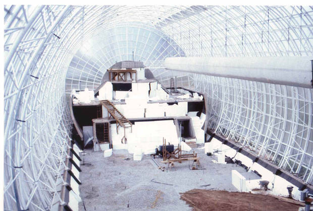 The unfinished interior of the Crystal Bridge is shown in this mid-1980s photo. <strong>City of Oklahoma City</strong>