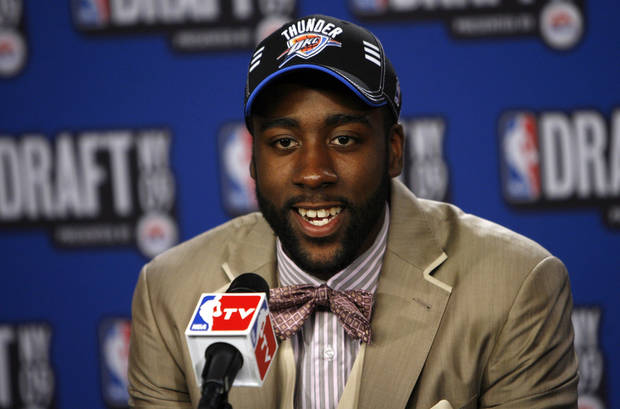 Arizona State's James Harden takes questions in the interview room after being selected by the Oklahoma City Thunder as the No. 3 pick in the first round of the NBA basketball draft Thursday, June 25, 2009, in New York. (AP Photo/Jason DeCrow)