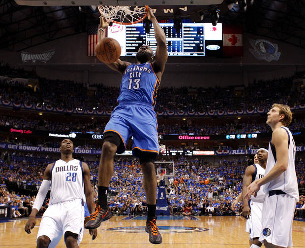 Oklahoma City's James Harden (13) dunks the ball as Dallas' Ian Mahinmi (28), Jason Terry (31), and Dirk Nowitzki (41) watch during Game 4 of the first round in the NBA playoffs between the Oklahoma City Thunder and the Dallas Mavericks at American Airlines Center in Dallas, Saturday, May 5, 2012. Oklahoma City won 103-97. Photo by Bryan Terry, The Oklahoman
