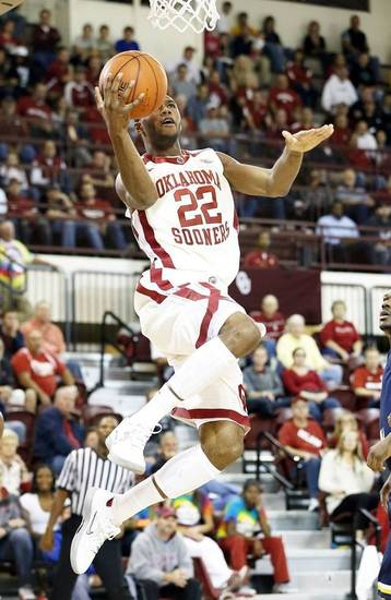 Oklahoma's Amath M'Baye, shown here during the Sooners' exhibition win over Central Oklahoma, had a team-high 19 points in the Sooners' victory in Hawaii. Photo by Steve Sisney, The Oklahoman