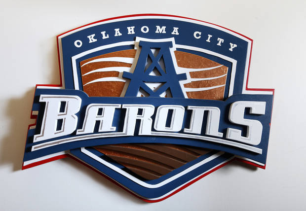 An Oklahoma City Barons logo at the entrance to the AHL hockey team's locker room at the Cox Convention Center in downtown Oklahoma City Friday, April 12, 2013.  Photo by Paul B. Southerland, The Oklahoman
