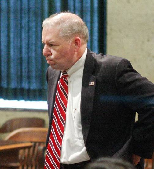Oklahoma County District Attorney David Prater waits for the jury inside a courtroom Monday where he was attacked by a convicted murderer.