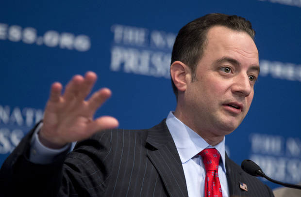 Republican National Committee Chairman Reince Priebus speaks Monday at the National Press Club in Washington. The RNC formally endorsed immigration reform Monday and outlined plans for a $10 million outreach to minority groups as part of a strategy to make the GOP more �welcoming and inclusive.�  AP PHOTO