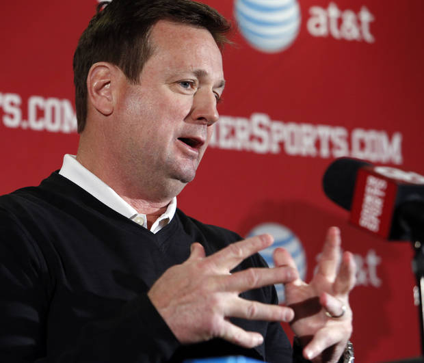 Sooner head football coach Bob Stoops talks about the start of spring practice at Gaylord Family-Oklahoma Memorial Stadium in Norman, Okla., on Thursday, March 6, 2014. Photo by Steve Sisney, The Oklahoman
