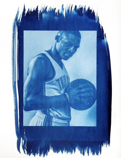 Oklahoma City's Russell Westbrook (0) is shown in this cyanotype print made from a photo taken during the Oklahoma City Thunder media day on Friday, Sept. 27, 2013, in Oklahoma City. Photo by Chris Landsberger, The Oklahoman. Cyanotype print by Nate Billings, The Oklahoman