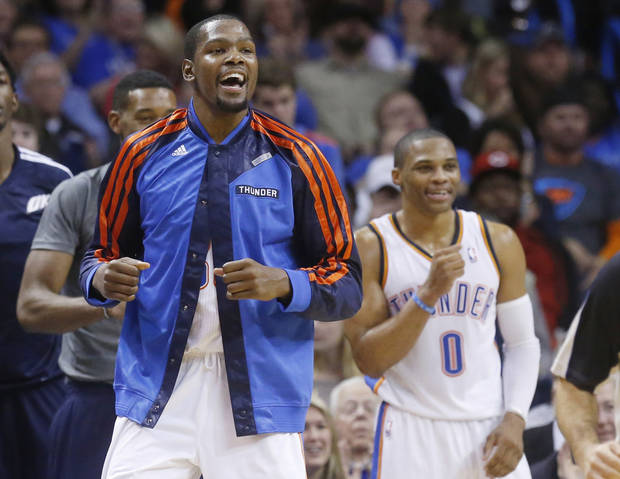 The Thunder's depth has made for decreased minutes for Kevin Durant and Russell Westbrook. (AP Photo/Sue Ogrocki)