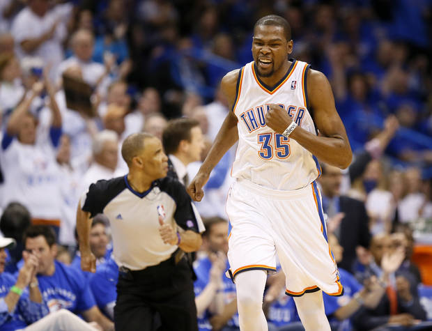 Oklahoma City's Kevin Durant (35) celebrates after making a shot during Game 2 in the first round of the NBA playoffs between the Oklahoma City Thunder and the Houston Rockets at Chesapeake Energy Arena in Oklahoma City, Wednesday, April 24, 2013. Photo by Nate Billings, The Oklahoman