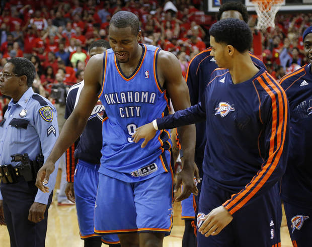 Oklahoma City's Serge Ibaka (9) walks off the court after Game 4 in the first round of the NBA playoffs between the Oklahoma City Thunder and the Houston Rockets at the Toyota Center in Houston, Texas,Sunday, April 29, 2013. Oklahoma City lost 105-103. Photo by Bryan Terry, The Oklahoman