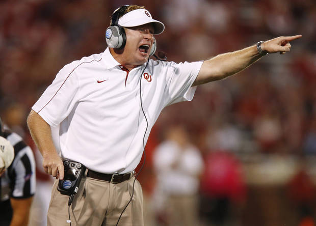 Oklahoma defensive coordinator Mike Stoops shouts during the college football game between the University of Oklahoma Sooners (OU) and the Kansas Jayhawks (KU) at Gaylord Family-Oklahoma Memorial Stadium in Norman, Okla., Saturday, Oct. 20, 2012. Photo by Bryan Terry, The Oklahoman
